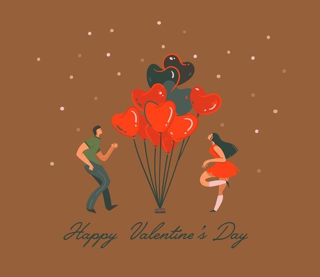 Нарисованная рукой иллюстрация концепции дня святого валентина с танцующей парой и изолированными воздушными шарами в форме сердца