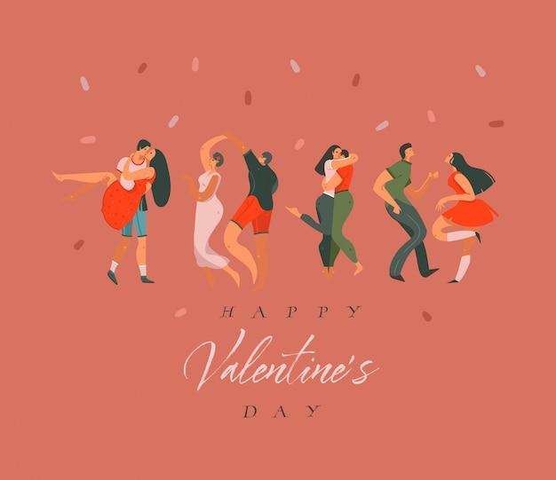 手描き幸せなバレンタインデーコンセプトイラストカードと踊るカップルの人々が一緒に色付きの背景に分離