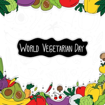 Hand drawn happy vegetarian day banner. doodle vegetarian day. health food concept. vector illustration