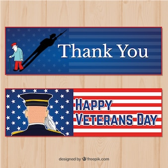 Hand drawn happy veterans day banners