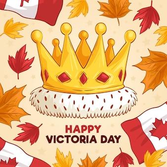 王冠と手描きの幸せなビクトリアデーのイラスト
