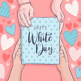 Hand drawn happy white day
