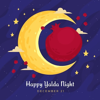 Hand drawn happy yalda background with moon