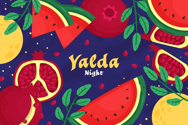 Hand drawn happy yalda background