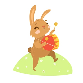 Hand drawn hare playing the drum