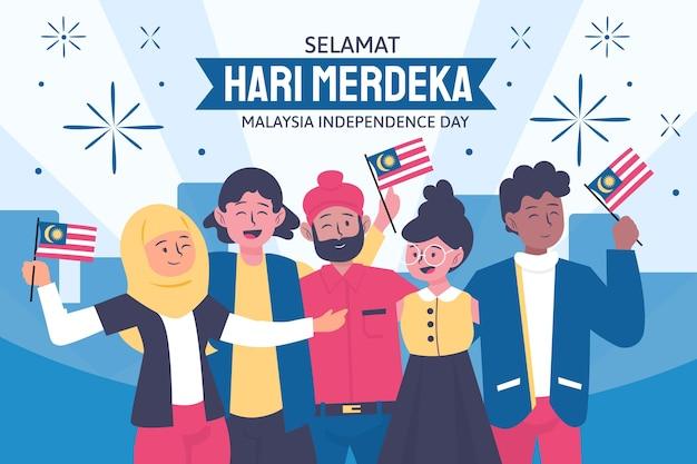 Hand drawn hari merdeka illustration