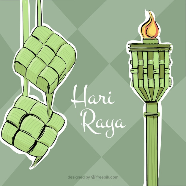 Hand drawn hari raya background