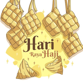 Hand drawn hari raya haji illustration