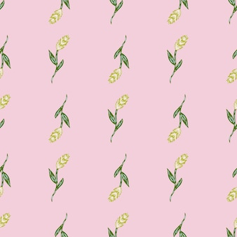 Ручной обращается урожай бесшовные модели с зеленым колосом пшеницы silhoettes. пастельный розовый фон. графический дизайн оберточной бумаги и текстуры ткани. векторные иллюстрации.