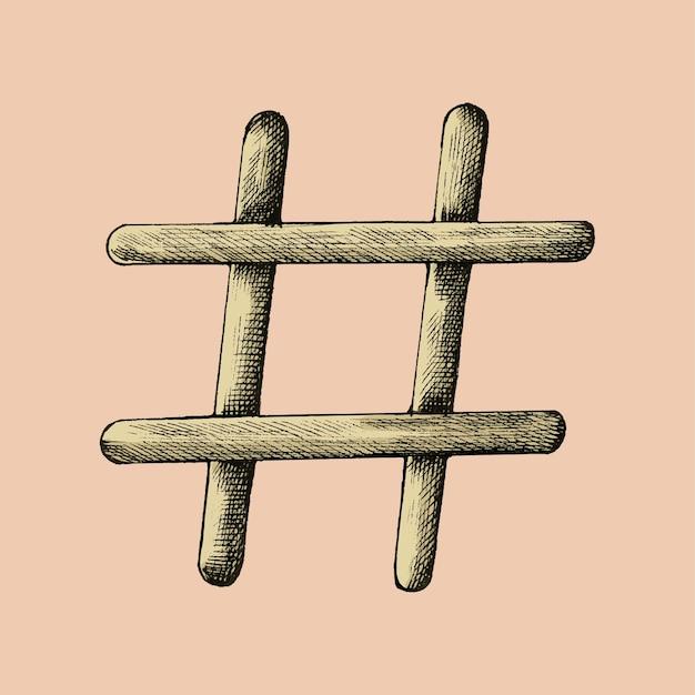 Hand drawn hashtag illustration