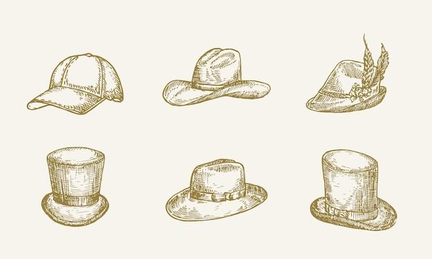 Набор рисованной шляпы векторные иллюстрации коллекция эскизов головной убор изолированы