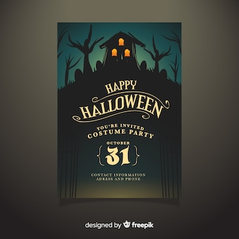 Hand drawn haunted house halloween party poster template