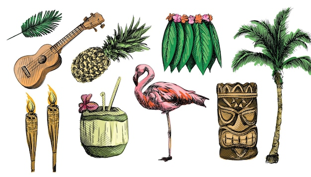 손으로 그린 하와이 스케치 세트. 하와이 테마. 우쿨렐레, 하와이 기타, 훌라 스커트, 토템, 부족 마스크, 하와이 대나무 토치, 코코넛 주스
