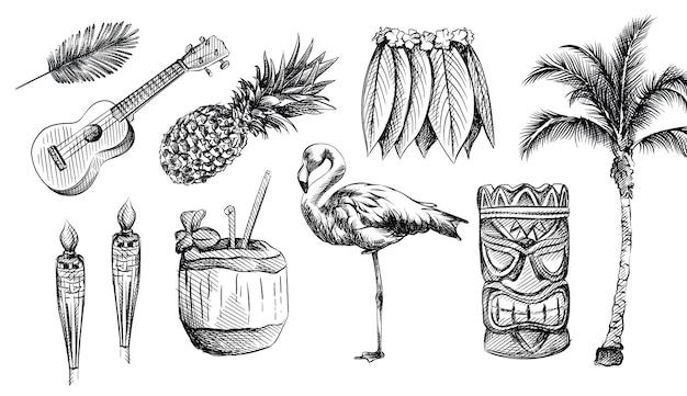 손으로 그린 하와이 스케치 세트. 하와이 테마.