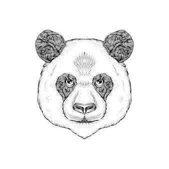 손으로 그린 머리 팬더 라인 아트 흑백