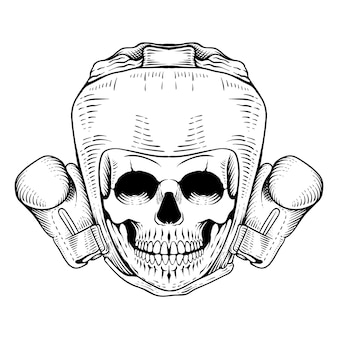 Hand drawn head skull boxing engraving style line art engraving style