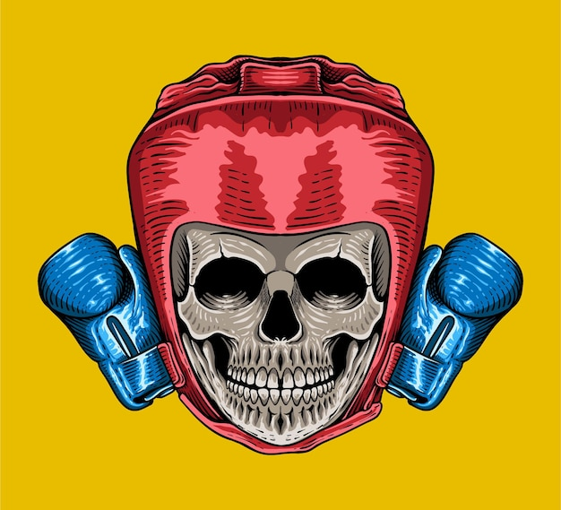 Hand drawn head skull boxing engraving style