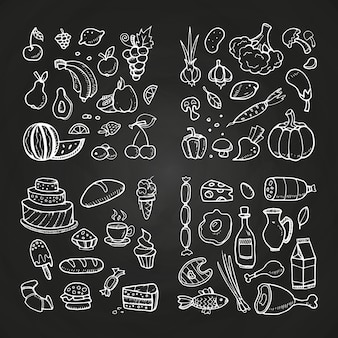 Hand drawn healhty and fast food illustration