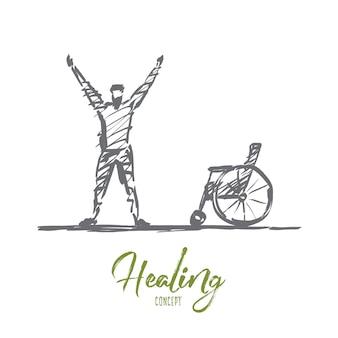 Hand drawn healing concept sketch
