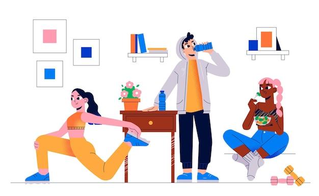 Нарисованная рукой концепция здоровья и фитнеса с характером