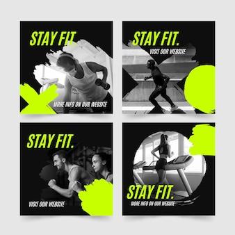 Raccolta di post di instagram di salute e fitness disegnata a mano