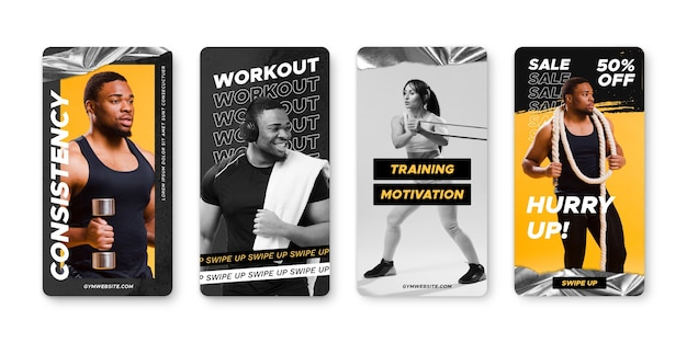 Hand drawn health and fitness instagram stories collection with photo