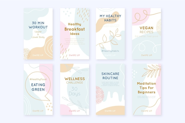 Hand drawn health and fitness instagram stories collection