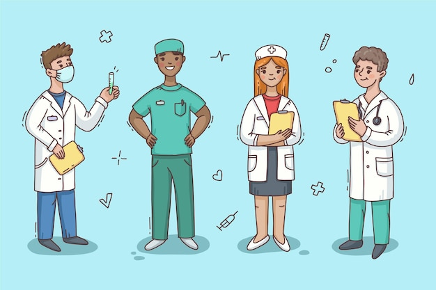 Hand drawn health professionals