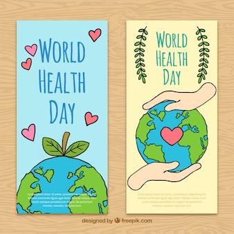 Disegnati a mano striscioni giornata mondiale della salute