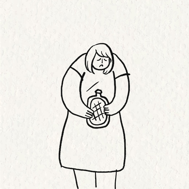 손으로 그린 의료 낙서 벡터, 생리통 문자를 가진 여자