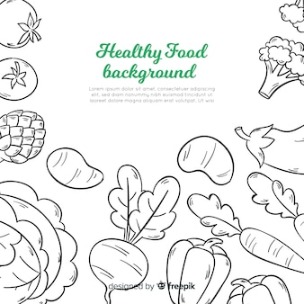Hand drawn healthy food background