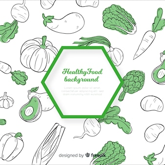 Hand drawn healthy food background