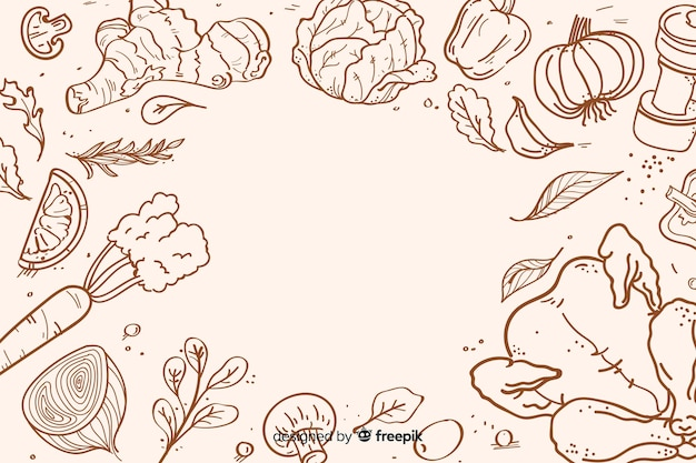 Hand drawn healthy food background Premium Vector