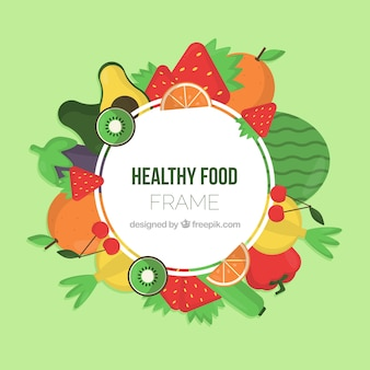 Hand drawn healthy food frame