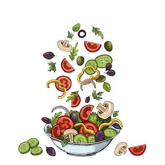 手描きの健康食品の食材。きのこきゅうり、トマト、オリーブ、レタスの葉。
