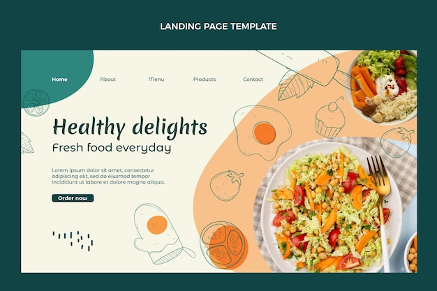 Hand drawn healthy food landing page