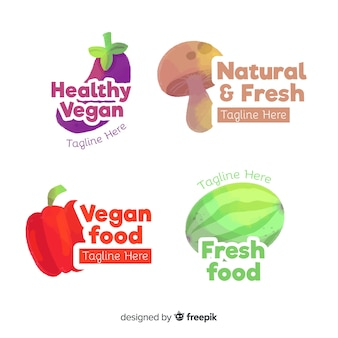 Hand drawn healthy food logo collection