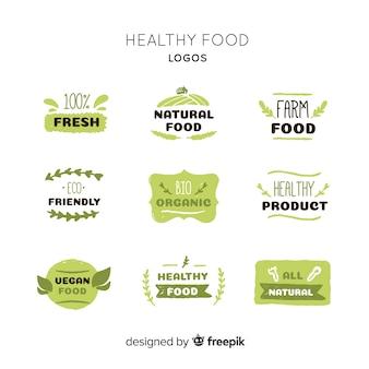 손으로 그린 건강 식품 로고 컬렉션