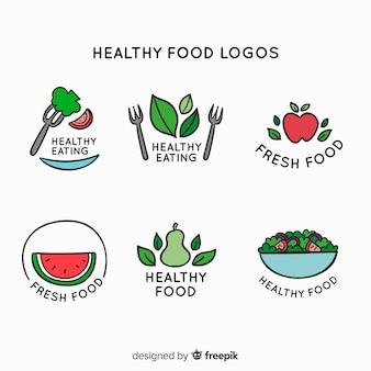 손으로 그린 건강 식품 로고 세트