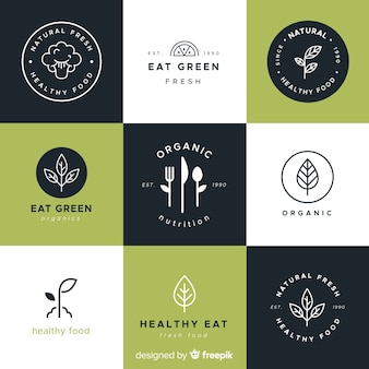 Hand drawn healthy food logos