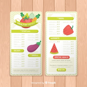 Hand drawn healthy food menu