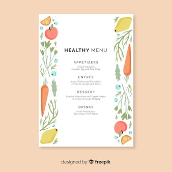 Hand drawn healthy food menu