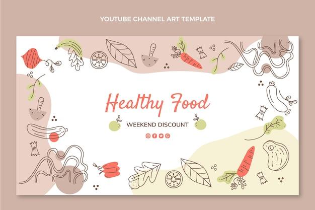 손으로 그린 건강 식품 youtube 채널 아트
