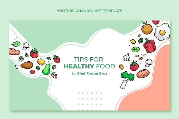 Canale youtube di cibo sano disegnato a mano
