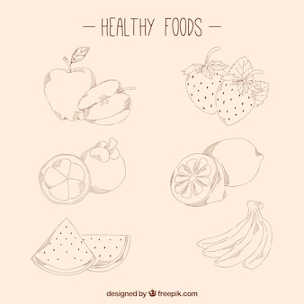 Hand drawn healthy foods