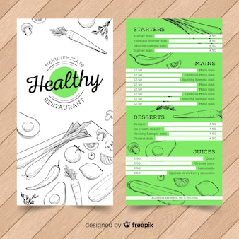 Hand drawn healthy menu template