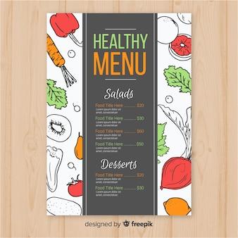 Hand drawn healthy menu template