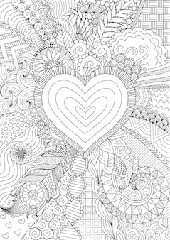 Hand drawn heart background