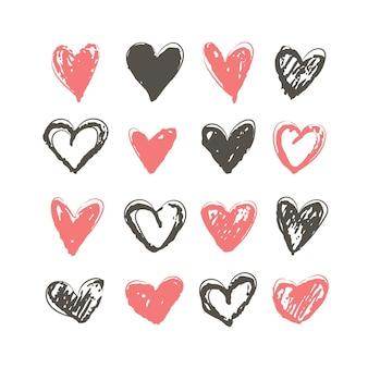 Коллекция рисованной иллюстрации сердца