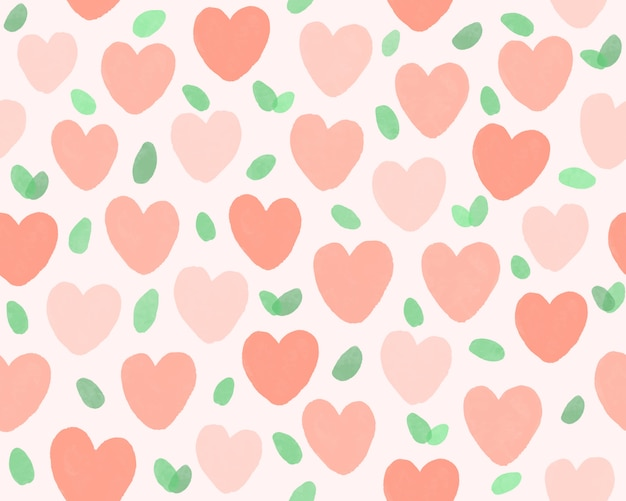 Hand drawn heart and leaf pattern background.